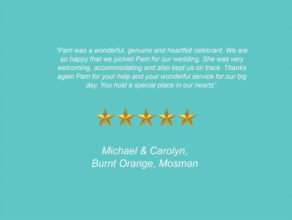 Your Unique Occasion Testimonial - Burnt Orange Mosman